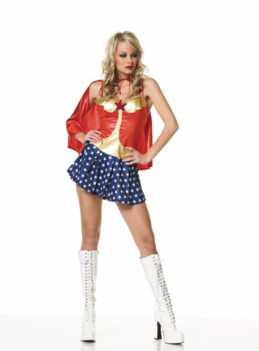 Sexy 2Pc Super Hero Wonder Woman Halloween Costume