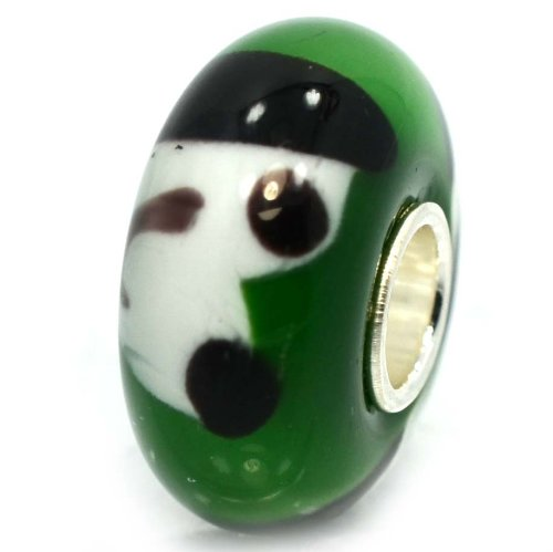 """Pro Jewelry .925 Sterling Silver Glass """"White/ Black Dog in Glass"""" Charm Bead for Snake Chain Charm Bracelets 1572"""