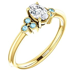 10K Yellow Gold Oval Cut Diamond and Aquamarine Engagement Ring