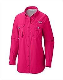 Columbia Women\'s Bahama Long Sleeve Shirt, X-Small, Bright Rose
