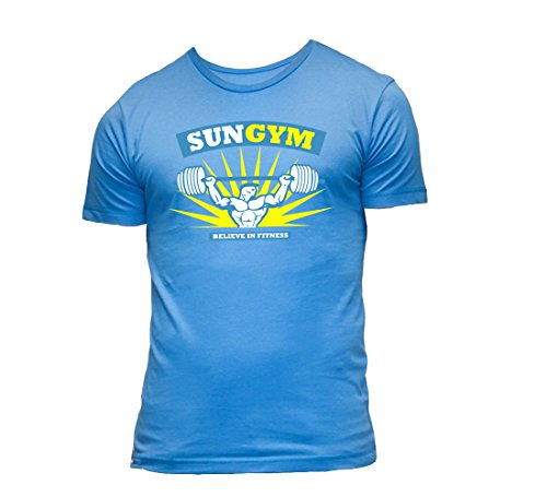 Sun-Gym-T-shirt-bleu-clair-bleu-chemise-T-shirt-fitness-shirt-chemise-fonctionnelle-Gym-Believe-remise-en-forme-Hommes-Hommes-bodybuilder-chemise-de-formation