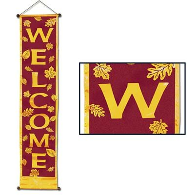 Welcome Velvet-Lame Holiday Panel Party Accessory (1 count) (1/Pkg)