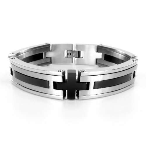 Stainless Steel Black Plated Men's Bracelet (15mm) - 8.5 Inches
