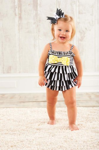 Mud Pie Baby-Girls Infant Striped Swimsuit, Black/White/Yellow, 9 Months front-563132