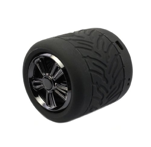 Sannysis 1Pc Lovely Mini Bluetooth Tire Bass Soundbox Handsfree Speaker For Iphone Samsung Htc (Black)
