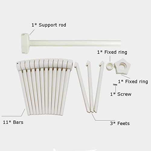 Loghot ABS Material Pasta Drying Rack with 11 Bars Handles Collapsible Household Noodle Hanging Tree Holder White