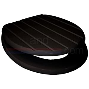 Grooved Black MDF Wood Toilet Seat With Metal Bar Hinge Kitche