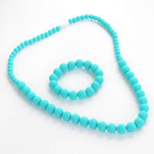 Details for Sassy Baby Beads Silicone Teething Chew Beads Necklace Set - BPA Free! (Turquoise) from Sassy Baby BeadsTM