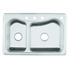 KOHLER K-3361-4-NA Staccato Large/Medium Self-Rimming Kitchen Sink