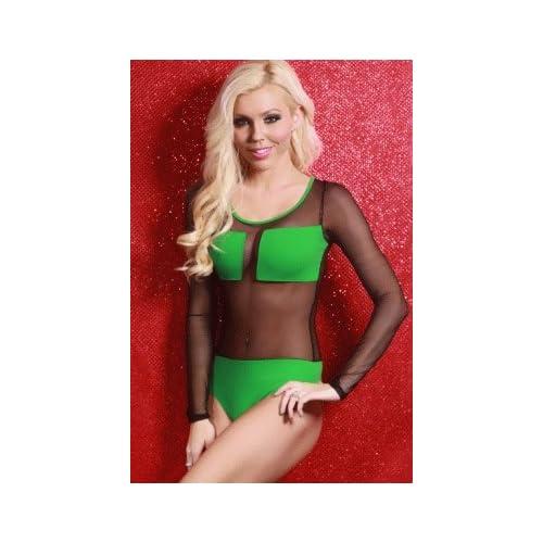 Amazon.com: GREEN BLACK MESH LONG SLEEVE BODYSUIT