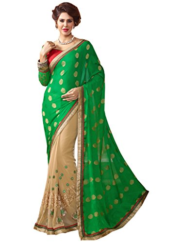 Lovely Look Latest collection of Sarees in Georgette & Jacquard Fabric & in attractive Green & Beige Color