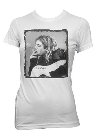Kurt Cobain Smoking Girlie T-Shirt Weiß (L)