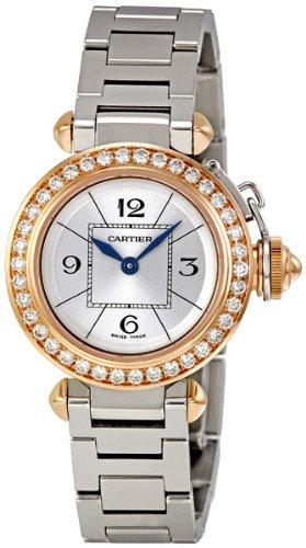 Cartier Miss Pasha Silver Dial Diamond Bezel Ladies Watch WJ124021