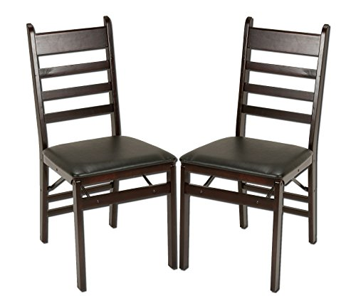 Cosco 2-Pack Wood Folding Chair with Vinyl Seat and Ladder Back, Espresso (Dining Chairs Wood compare prices)
