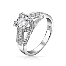 buy Bling Jewelry Vintage Style Criss Cross Round Solitaire Engagement Ring Cz 925 Sterling Silver
