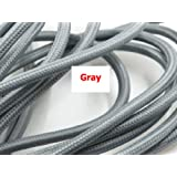 2M,3M,5M, Or 10M/Lot VDE Certified 2 Core Round Textile Electrical Wire Color Braided Wire Fabric Cable Vintage Lamp Power Cord grey color 10m (Color: grey color, Tamaño: 10m)