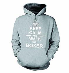 Keep Calm And Walk The Boxer Hooded Sweatshirt Hoody In Heather Grey