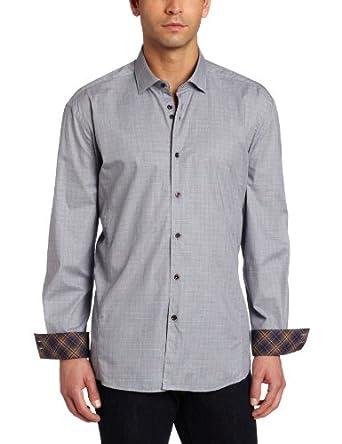 Stone Rose Men's Check Button Down Woven Dress Shirt, Gray Glen Plaid, 4