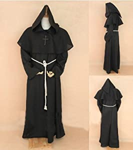 Black Monk Robe and Hood Costume. Wizard, Priest, Mage, or Cardinal Robe,Sorcerer Mage or Priest costume, Christian Jesus costume,Size XL(Fit for height 182cm-190cm / 6'-6'2 )