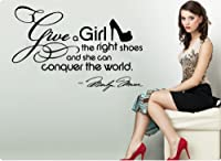 HUGE Marilyn Monroe Give A Girl Shoes....Conquer the World Quote Wall Decal Decor Large Nice Sticker from ValueDecals.com