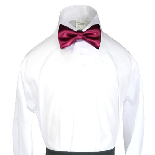 Unotux Boys Suits Tuxedo Formal Wedding Burgundy Satin Bow Tie From Baby To Teen front-650522
