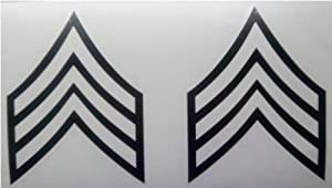 Pair Military ARMY SERGEANT STRIPES Patch Window Glass Vinyl Decal Sticker