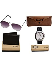 Combo Pack Of Black YuniiQ Wallet With Black Unisex Sunglasses With YuniiQ Black Formal Mens Watch.