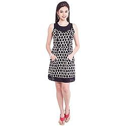 TUNTUK Women's Haley Dress Black Cotton Dress