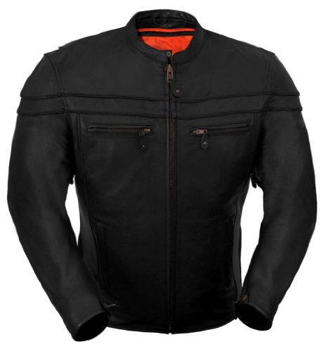 True Element True Element Mens Sporty Scooter Style Collar Leather Motorcycle Jacket