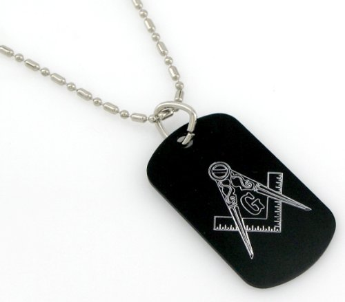 """Masonic Mason G Engraved Dog Tags/GI Tags, Necklace 30"""" Chain from The Masonic Exchange"""