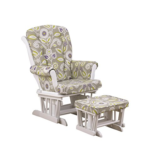Cotton Tale Designs Periwinkle Glider Floral on White with Ottoman