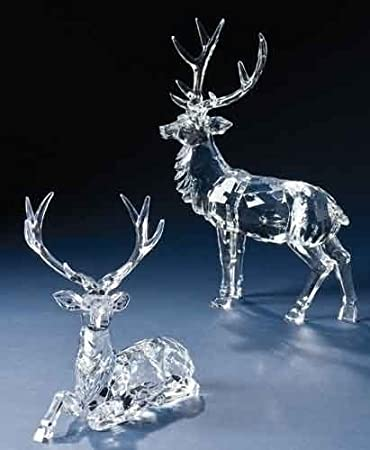 Icy Crystal Reindeer Christmas Figures Set of 2 with Detachable Magnetic Antlers