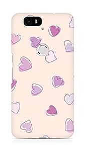 Amez designer printed 3d premium high quality back case cover for Huawei Nexus 6P (Cute Heart Pattern)