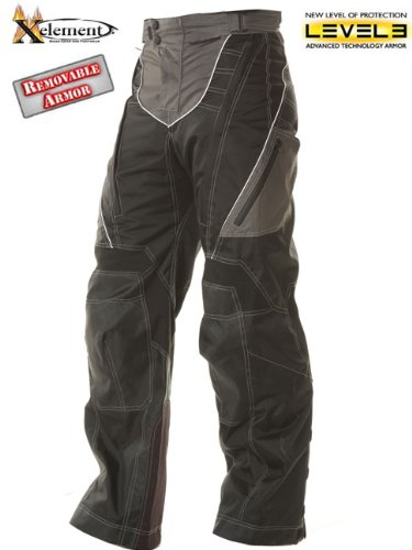 Xelement  Mens Advanced Level-3 Black Tri-Tex Fabric Motorcycle Pants