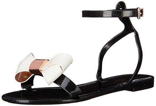 Ted Baker Women's Louwla Jelly Sandal, Black/Cream, 10 M US