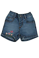 WOWMOM DENIM SHORTS WITH BUTTERFLY EMBROIDERY_ICE WASH