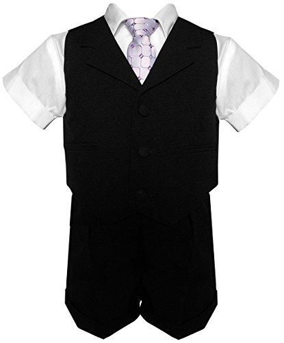 G240 Baby Boy Infant Summer Suit Vest Short Set (Large/12-18 Months, Black) front-936368