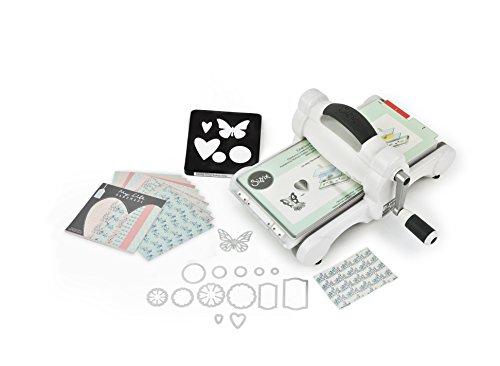 Sizzix Big Shot - Kit base per fustellatrice, in plastica, acciaio e gomma, con cartoncini multicolore a marchio My Life Handmade, versione UK, colore: bianco e grigio