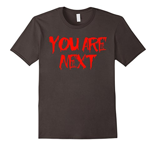 [Men's You Are Next Bloody Red Ink Stalker Halloween Costume Shirt Large Asphalt] (Mom Dad And Child Halloween Costumes)