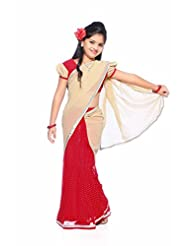 Bhartiya Paridhan Prestiched Ready To Wear Visose Red Saree With Stiched Blouse For Girl's