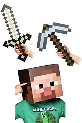 Minecraft 12 Steve Head Sword Pickaxe Costume Kit from toynk