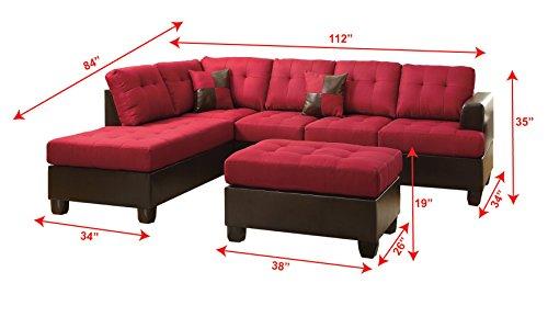 Poundex Bobkona Winden Blended Linen 3-Piece Reversible Sectional Sofa with Ottoman, Carmine