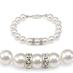 'Olive n Figs' Crystal Pearl Bracelet with Rondelle - MADE WITH SWAROVSKI ELEMENTS - White (8mm)