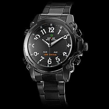 M.M.Men'S Steel Led-Quartz Digital-Analog Wrist Watch (2 Time Zone, Assorted Colors)