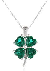 10k White Gold Created Emerald Four-L…