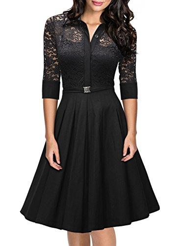 Miusol Vestiti Donna Estivi Vintage Manica Corta Lace Fasciante Linea Ad A Casual Cocktail Vestito
