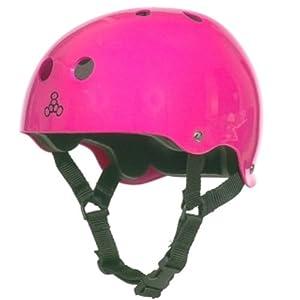 Triple Eight Brainsaver Glossy Pink Skate Helmet with Standard Liner