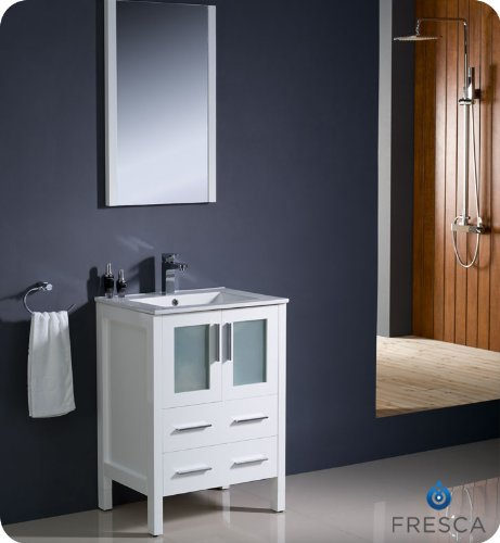 "Fresca Torino 24"" Modern Bathroom Vanity W/ Integrated Sink - White front-291127"