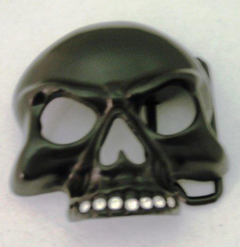 Half Skull Skeleton Rhinestone on Grill Black Finishing Bikers Belt Buckle