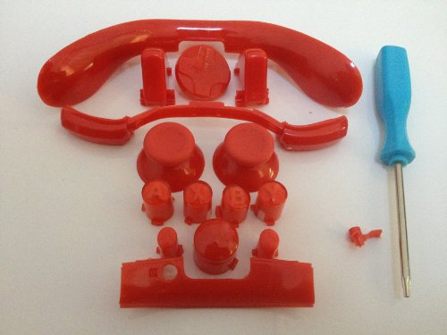 Xbox 360 Complete Red Kit Thumbsticks D-Pad Sync Lb/Rb Bumper Lt/Rt Trigger And Abxy/Guide Buttons